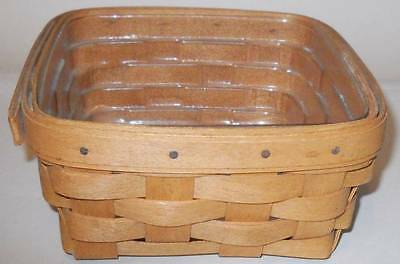 Vintage 1992 Classic Stain Longaberger Square Basket With Plastic Liner.