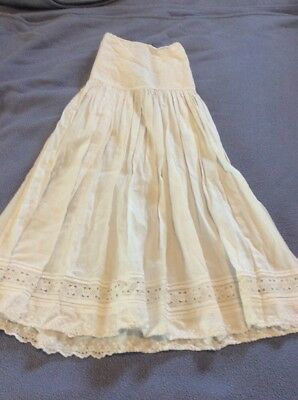 Antique Child's / Baby Victorian Long Under Slip White Cotton Embroidered  Lace
