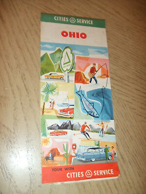 VINTAGE 1956 Cities Service Oil Gas Ohio State Highway Road Map Citgo Columbus