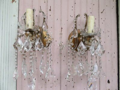 EXQUISITE PAIR Old Vintage SCONCES WALL LIGHTS BEADED on Arms DRIPPING CRYSTALS