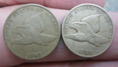 1858 SL & LL Flying Eagle Small Cents No Reserve