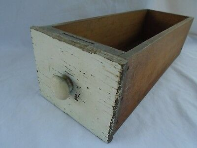 vintage antique primitive shabby old paint wood sewing drawer trinket tool box