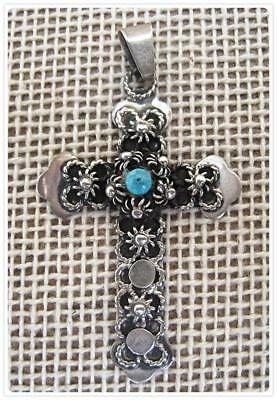VINTAGE STYLE STERLING SILVER CROSS.  Extensive hand labor.  (C238-SS)