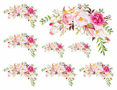 Shabby Handpainted Watercolor Roses Flowers Swag Corners Waterslide Decals FL524