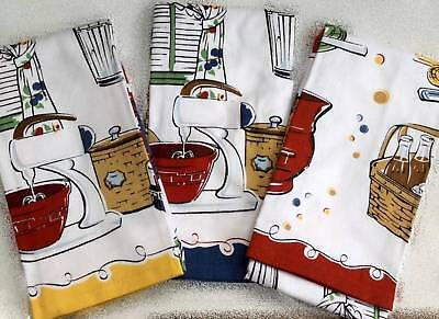 Longaberger Kitchen Towel Set - 3 Towels - Retro Design Kitchen Ware - New Rare!