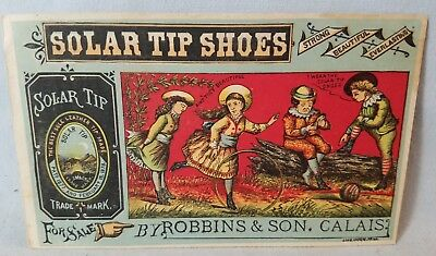 Late 1800's Trade Card Solar Tip Shoes For Sale By Robbins From Calais NO Res