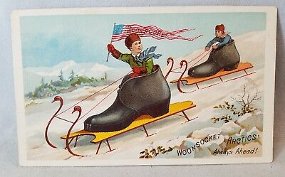 Coolest Late 1800's Trade Card Woonsocket Artics Rubber Shoes Boots NO Res