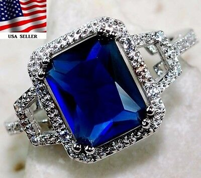 2CT Blue Sapphire & White Topaz 925 Solid Sterling Silver Ring Jewelry Sz 8