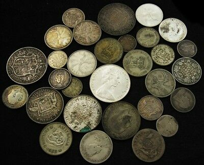 Lot of 30 British/British Commonwealth Silver Coins (1896-1953)