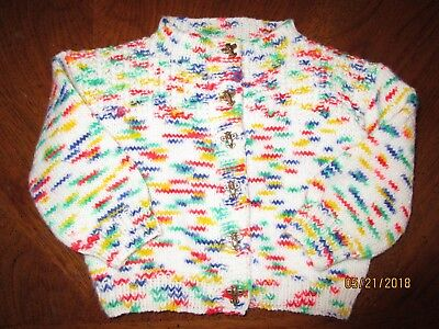 1970s VINTAGE TODDLER BABY SWEATER HAND KNIT w AIRPLANE BUTTONS PRIMARY COLORS !