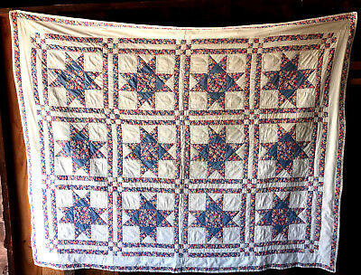 ANTIQUE QUILT NICE-CONDITION 90x72-INCHES FLORALS-WHITE 1940s STARS BEAUTIFUL!