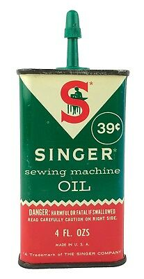 Vintage Metal Oil Can Singer Sewing Machine Oil 4 Oz Can Green Red White 1970's