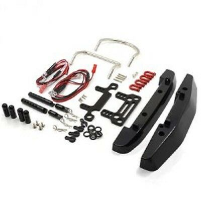 Front and Rear Bumper Set with Heavy Duty Shackles and LED Set for Axial SCX10