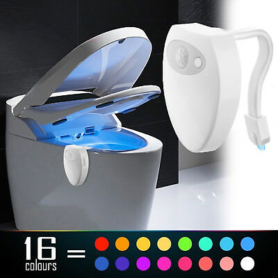 Toilet Night Light 16 Color LED Motion Activated Sensor Bathroom Bowl Seat Lamp