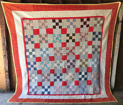 """ANTIQUE QUILT HANDCRAFTED 90x90"""" NICE-CONDITION 1940s FLORALS PATCHES BEAUTIFUL!"""