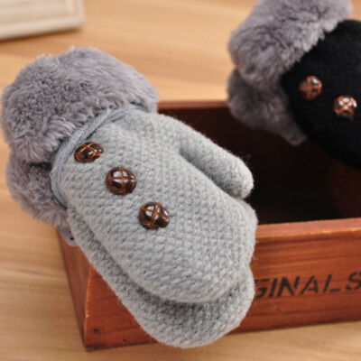 Fur Knitted Baby Mittens Warm Soft Kids Xmas Newborn Winter Gloves Boys Neck
