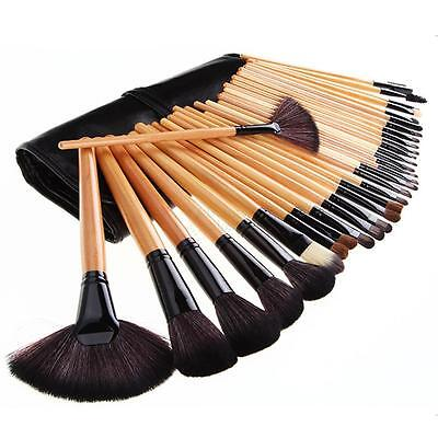 32Pcs Wood Makeup Brush Set Eyeshadow Foundation Brushes Cosmetic Kit Pouch Bag