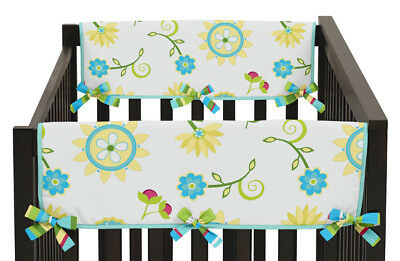 Jojo Layla Floral 2Pc Side Rail Guard Crib Cover Baby Teething Protector Wrap