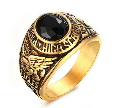 18k Gold Plated Stainless Steel Eagle Engraved Men's Cool Design Cowboy Ring M30