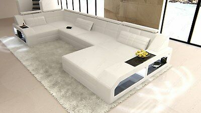 Leder Sofa Couch Wohnlandschaft Arezzo U Form Led Beleuchtung