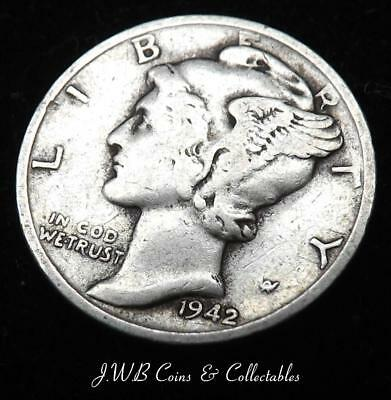 1942-S USA Silver Mercury Dime Coin