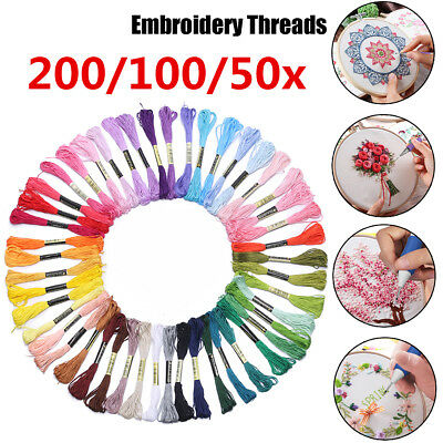 200/100x DIY Cotton Cross Floss Stitch Thread Embroidery Sewing Multi Color