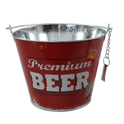 Red Ice Beer Bucket With Bottle Opener Metal Drinks Wine Beer Champagne Cooler