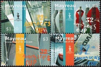 32nd AMERICA'S CUP (Valencia) Sailing Yacht Boat Race Stamp Set 3 (2007 Mayreau)