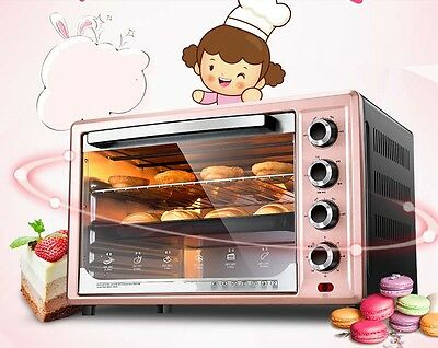 32L Commercial Home Black+Pink Multi-function Baking Tool Benchtop Electric Oven