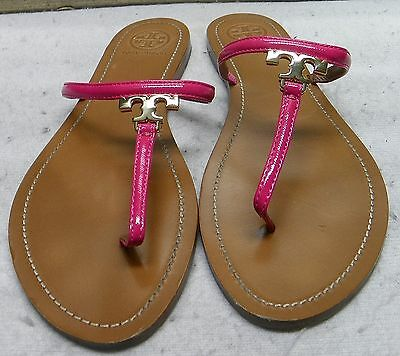 5cddf0ecd0eeee AUTHENTIC TORY BURCH  T  Logo Leather Thong Sandal Shoes Size 7.5 ...