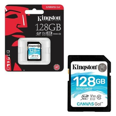 128GB Kingston Canvas GO! SDXC SD Memory Card Class 10 UHS-I U3 90MB/s 128GB