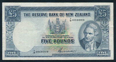 "New Zealand: 1955 £5 Wilson STRIKING LOW SERIAL NUMBER ""003009"". Fine Cat $90+"