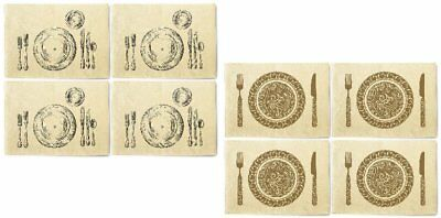 Ornate Cutlery Printed Canvas Table Mats Placemats 13x19 Inch Set of 4