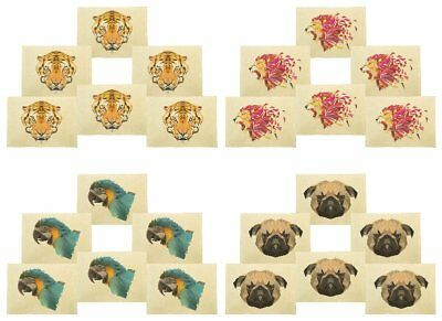 Geometric Animals Printed Canvas Placemats 13x19 Inch Set of 6