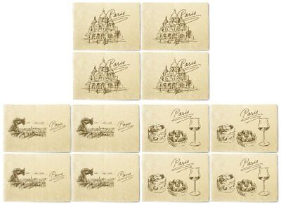 Paris Hand Drawn Printed Canvas Table Mats Placemats 13x19 Inch Set of 4