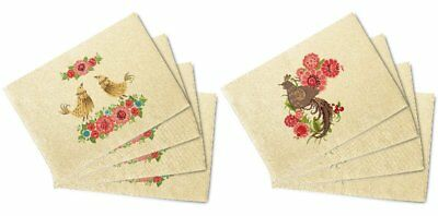 Birds & Flowers Printed Canvas Table Mats Placemats 13x19 Inch Set of 4