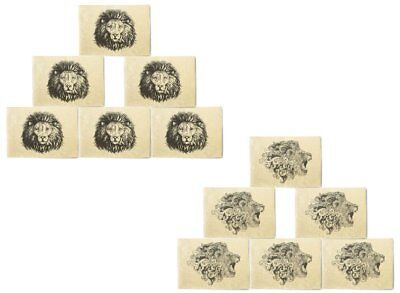 Hand Drawn Lion Design Printed Canvas Placemats 13x19 Inch Set of 6