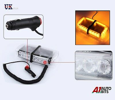 12V Amber 24 LED Vehicle Roof Lightbar Flashing Beacon Strobe Light Magnetic