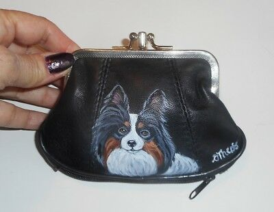 Tri Color Papillon dog Hand Painted Leather Coin Purse Mini Clutch wallet