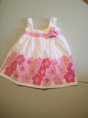 bac85a55a6 Rare Editions girls dress size 18 months white pink embroidered flowers  stitched