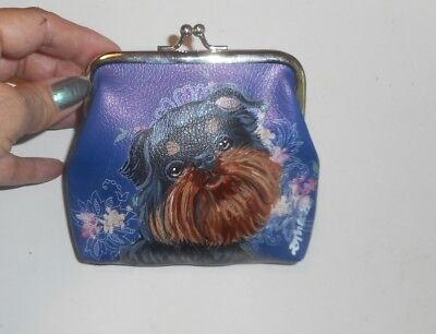 Brussels Griffon dog Hand Painted Leather Coin Purse Mini wallet