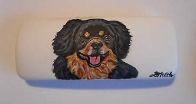 Black and Tan Tibetan Spaniel Dog Hand Painted Eyeglass case faux Leather