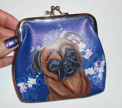 Smooth Hair Brussels Griffon dog Hand Painted Leather Coin Purse Mini wallet