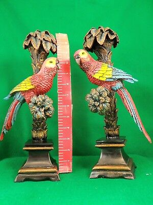 """Parrot Candlesticks Parrort are on a branch. About 14"""" tall. See 12 Pictures VGC"""