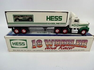 1992 Hess 18 Wheeler & Racer w Real Headlights & Taillights Racer w Friction GUC