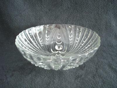 Antique Clear Glass Round BOWL Dots and Swirls w/ 3 Feet Vtg Fruit Serving NICE