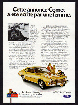1973 MERCURY Comet Coupe Vintage Original SMALL Print AD - Gold car photo woman