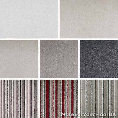 Soft Deep Pile Saxony Carpet Action Backed Striped Plain Heathered 4m 5m Wide