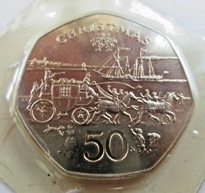 1980 ISLE-OF-MAN STAGECOACH -CHRISTMAS 50p-COIN