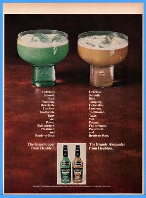 1976 Heublein Grasshopper Brandy Alexander Cocktail Alcohol Drinks Print AD